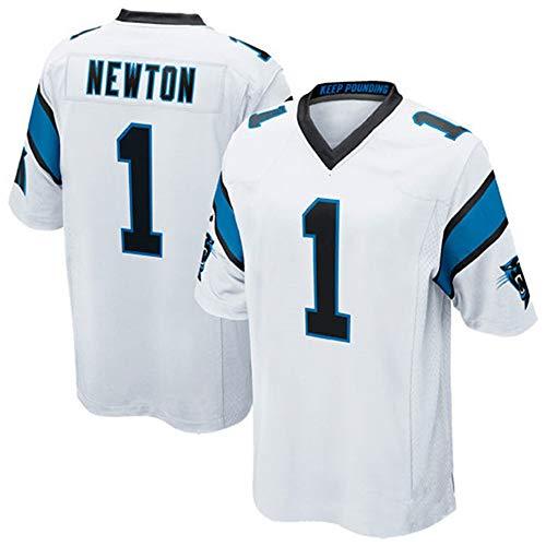 # 1 Cam Newton Rugby-Trikot, American Football-Trikot Carolina Panthers Bestickter Stoff, Kurzarm-Sport-T-Shirt-Sweatshirt-White-S