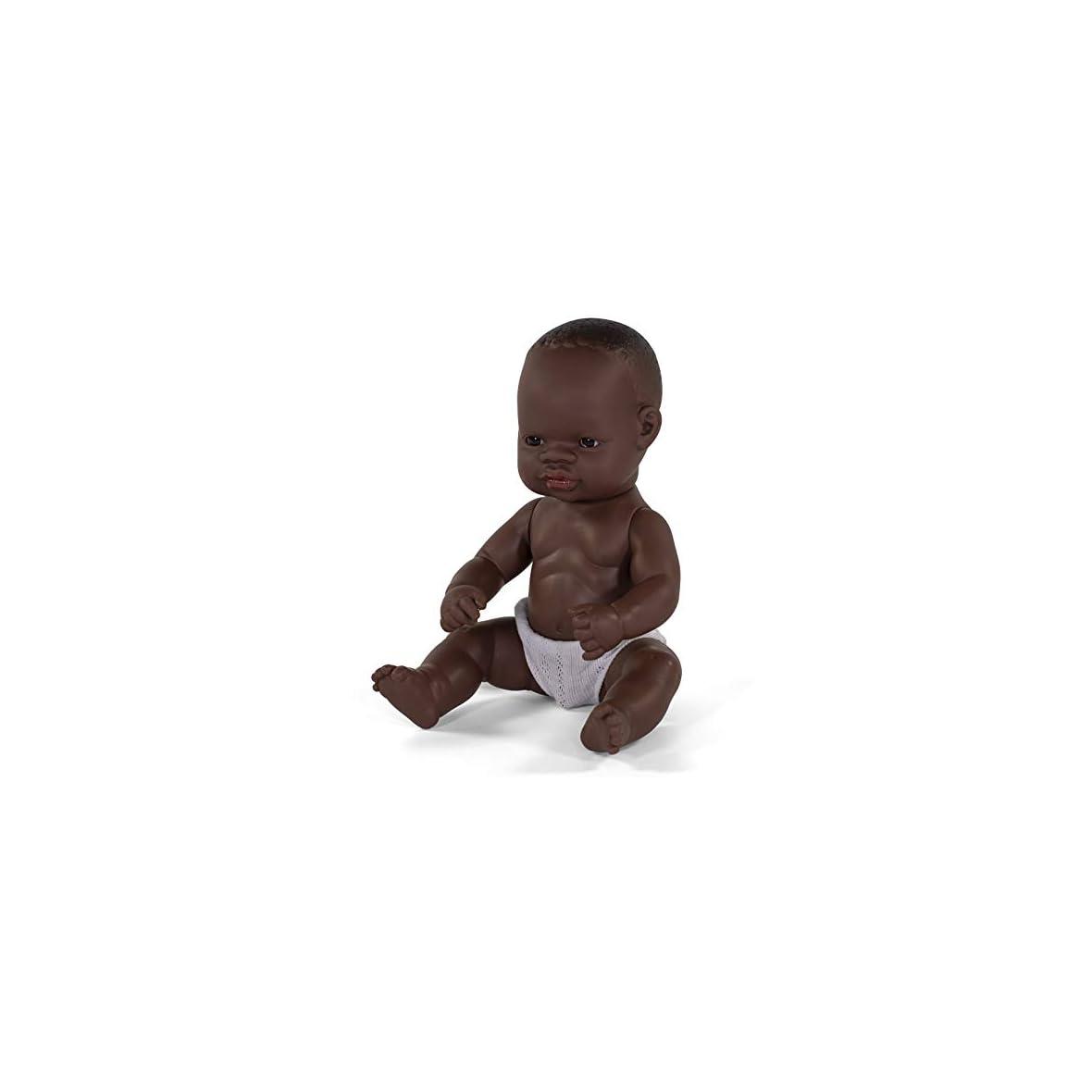 Miniland- Baby Africano Niño 32cm. Muñeco, Color Piel (31033)