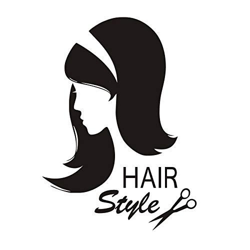 Wall Stickers for Girls Room, Wall Tattoo Art, Barber Shop Scissors Sex Girl Haircut Interior Salon 43x59cm
