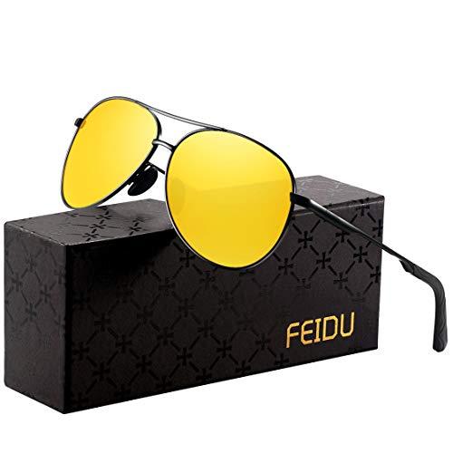 FEIDU Nachtsichtbrille für Autofahrer Unisex- getönte polarisiert ultra HD nachtsichtbrille autofahren Gläser Gläser für brillenträger (A-yellow)