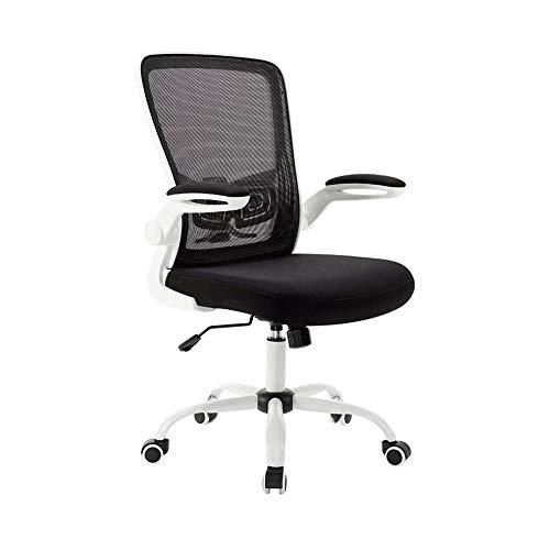 Sdesign Sedia da Ufficio scrivania Sedia Flip-up bracciolo ergonomico Sedia di operazione Compact 120 ° Bloccaggio Sedile Superficie Ascensore Resina Rinforzata Base (Colore: Nero) (Color : White)