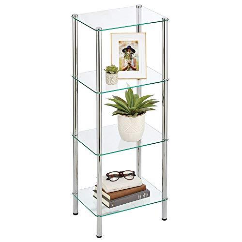 mDesign Estante de pie con 4 baldas – Estante de metal y cristal de diseño moderno – Compacta estantería decorativa para baño, despacho, dormitorio o salón – plateado/transparente