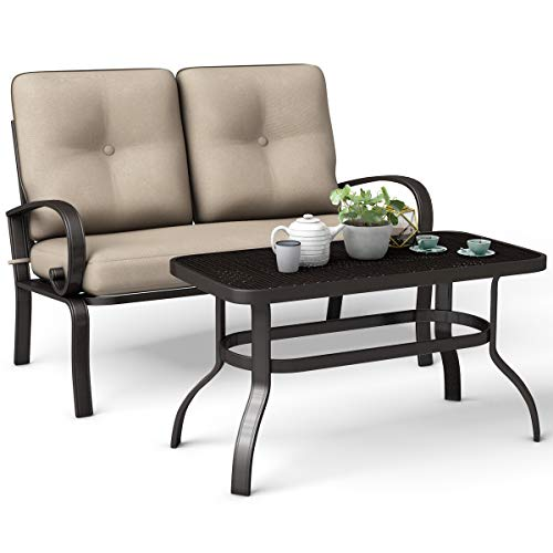 Giantex 2 Pcs Patio Loveseat with Coffee Table Outdoor Bench with Cushion and Metal Frame, Loveseat...
