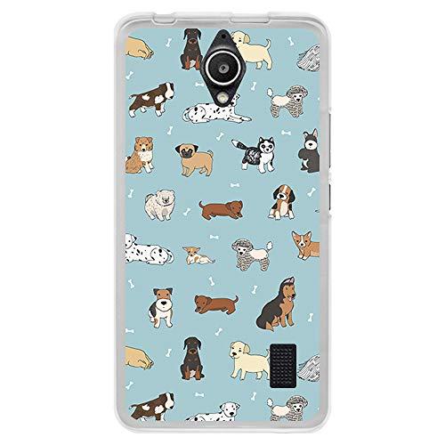 BJJ SHOP Custodia Trasparente per [ Huawei Y635 ], Cover in Silicone Flessibile TPU, Design: Stampaggio di Cuccioli e Ossa