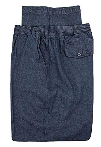 Falcon Bay Big & Tall Men's Casual Twill Pants Full Elastic Waist (42W x 28L, Denim)