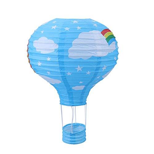 Ogquaton 12 'Heißluftballon Papierlaterne Lampenschirm Deckenleuchte Geburtstag Hochzeit Party Dekoration Blauer Regenbogen Langlebig und nützlich
