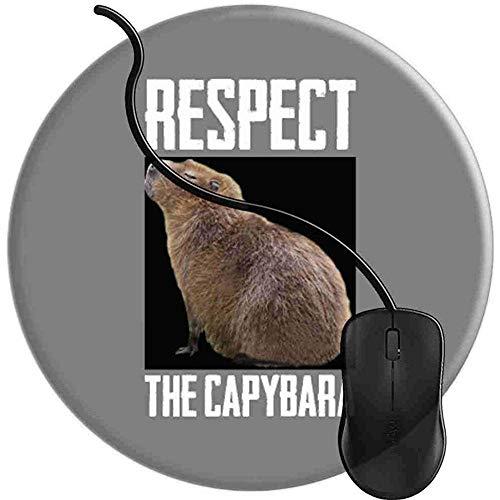 Rispetto Capibara Il più grande vivente Roditore Capibara Tappetino per mouse da gioco Base in gomma antiscivolo Comfort Tappetino per mouse Bordi cuciti Rotondo (20x20 cm)