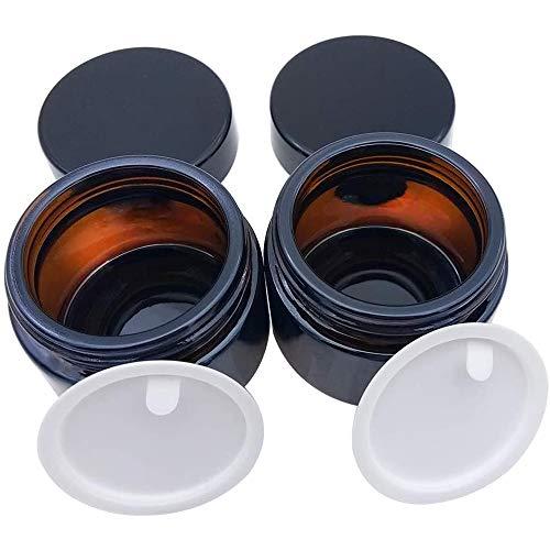 LONGCHAO 2 Stück 50ml Amber Glas Leerdose klarer Tiegel Cremedose Leer Leerdose Leere Nachfüllbare Behälter Braunen Glasbehälter mit Deckel und Liner für Kosmetik Cremes Lotionen ätherische Öle Pulver