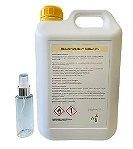 ALCOHOL ISOPROPILICO 99,9% RIQUEZA   ISOPROPANOL   5 Litros   INCLUYE PULVERIZADOR 100 ML   Limpieza de componentes electrónicos, pantallas, lentes y desinfección de superficies
