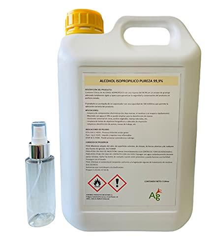 ALCOHOL ISOPROPILICO 99,9% RIQUEZA | ISOPROPANOL | 5 Litros | INCLUYE PULVERIZADOR 100 ML | Limpieza de componentes electrónicos, pantallas, lentes y desinfección de superficies