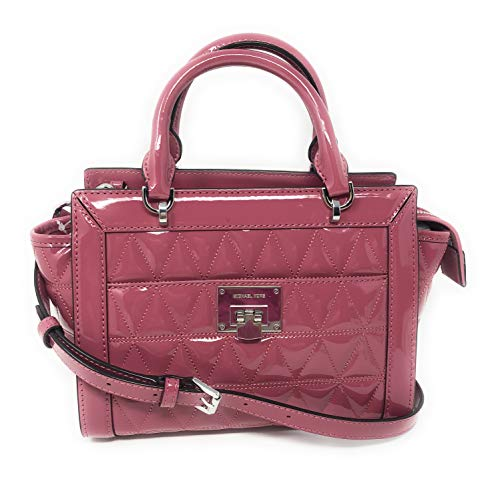 """Patent leather with silver tone hardware. Top handle flap satchel bag with adjustable cross body long strap. Interior: 1 zippered pocket & 3 slip pockets. Exterior: pocket on the front with magnetic snap closure. Approximate dimensions: 10"""" (L) x 7"""" ..."""