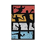 Vintage-Handball-Kunstdruck auf Leinwand, Poster und