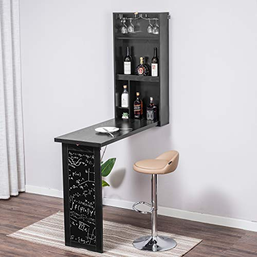 YUSING 4-in-1 Wall Mounted Bar Table, Fold Out Dining Table Laptop Desk with Magnetic Chalkboard & Glass Holder, Multi-Functional Floating Desk for Dining, Study, Kitchen, Bar (Black)