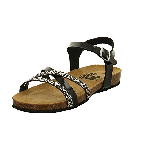 LONGO Damen 1021634 Schwarze Lack Sandale Größe 39 EU Mehrfarbig (schwarz Multi)