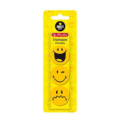 Herlitz 11299245 Flachmagnet, Smiley World, 24 mm, 6 Stück, rund, gelb