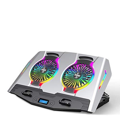 Xbd Refrigerador portátil,Base de Refrigeración para Ordenador Portátil,con geniales Efectos de iluminación RGB,cinturón de Ajuste de Altura multinivel,Pantalla LCD,Compatible con 21 Pulgadas