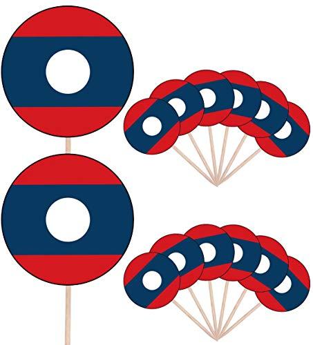 Laos Vlag Partij Voedsel Cake Cupcakes Picks Sticks Vlaggen Opstaan Decoraties Toppers (Pak van 14)