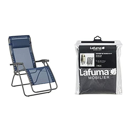 Lafuma Relax-Liegestuhl, Klappbar und verstellbar, RSXA Clip, Batyline, Farbe: Océan, LFM2035-8547 & Schutzhülle für alle Relax-Modelle, anthrazit