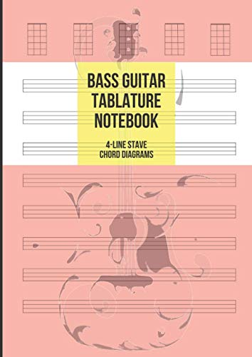 Bass Guitar Tablature Notebook: Blank Bass Guitar Tab Paper, 8 4-Line Tablature Staves and 5 Chord Diagrams per Page, 100 Pages A4