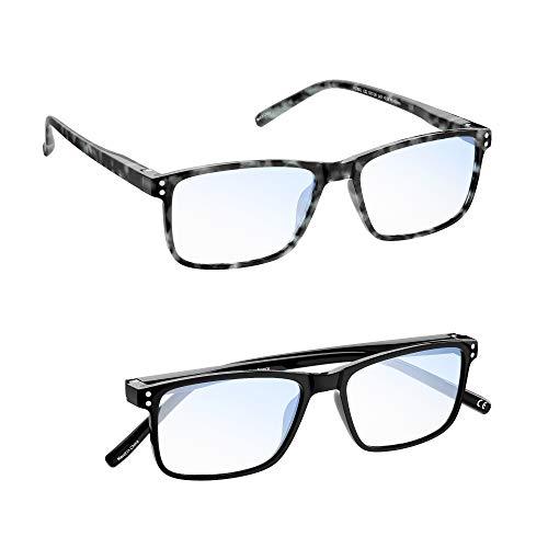 MADEYES Occhiali da Lettura Anti Luce Blu Anti affaticamento della Vista TR90 Leggeri 410 Protezione Completa UV Occhiali Unisex per Donne e Uomini (1 Nero 1 Blu, 1.00 Diottrie)