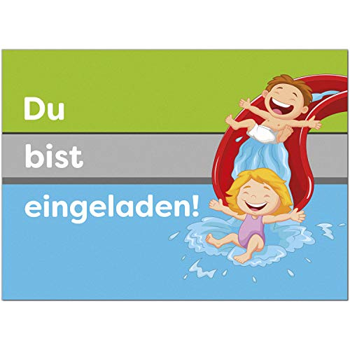 16 Einladungskarten zum Kindergeburtstag Badegeburtstag Schwimmbad - Einladungen für Kinder zum Geburtstag im Set