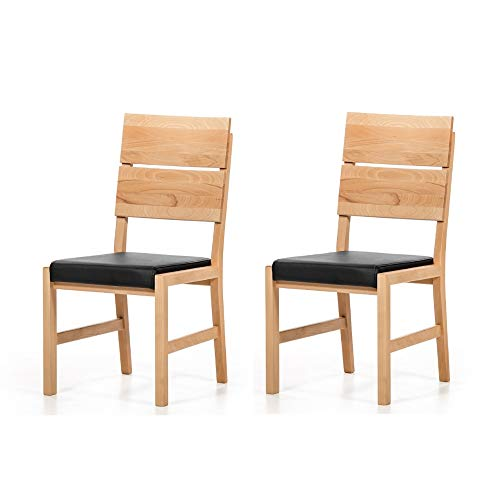 Marca Amazon -Alkove - Hayes - Set de 2 sillones de madera maciza con asiento tapizado (haya)