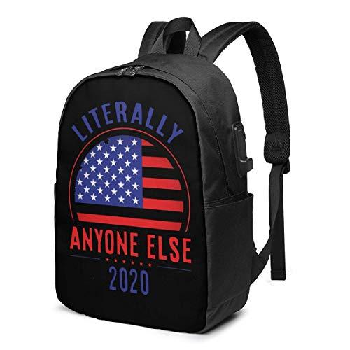 IUBBKI Anyone Else 2020, Bolsa para computadora portátil Anti-Trump de 17 Pulgadas, Mochila de Viaje para Hombres y Mujeres con Puerto USB para la Escuela y al Aire Libre