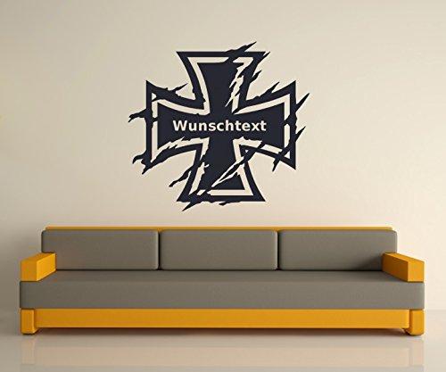 Wunschtext Wandtattoo XXL Eisernes Kreuz Wand Tür Aufkleber Text Sticker Bundeswehr Iron Cross Oldschool Car 2P084, Hohe:120cm;Farbe XXL:Schwarz Glanz