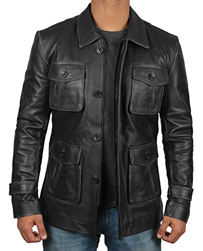 Fjackets Black Leather Jackets Men - Real Distressed Lambskin Mens Big and Tall Jacket | [1100617],Natural 4 Pocket Black XXXL