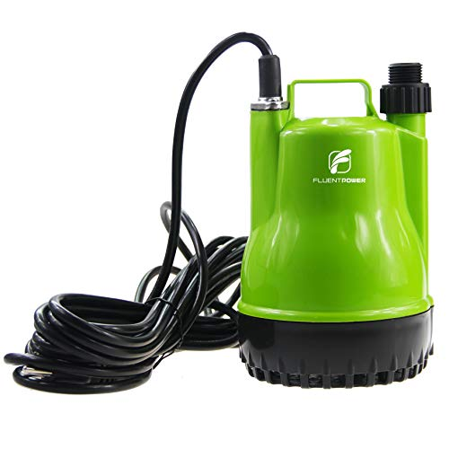 "FLUENTPOWER 1/4 HP Portable Utility Submersible Pump with 1500 GPH Flow for Water Removal, Drainage Sump Pump with 3/4"" Adaptor for Standard Garden Hose"