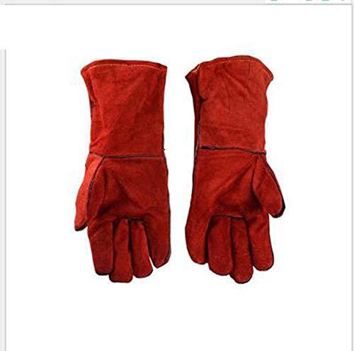 TYXHZL lederen zweetbestendige handschoenen, hittebestendig en krasbestendig snijden/perfecte blokkering hitte en bescherming hand rood (40 cm)