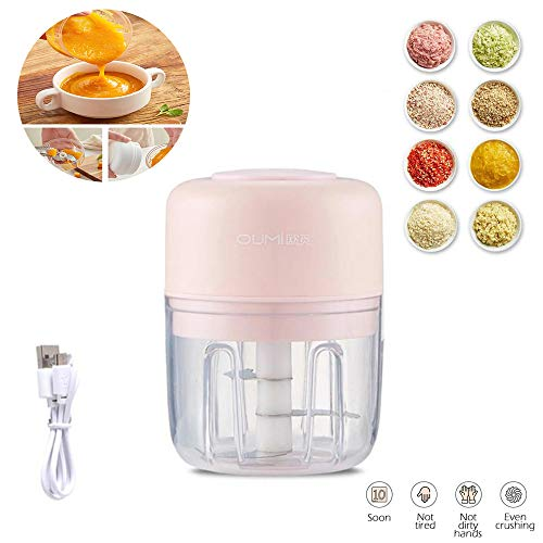 Electric Mini Garlic Chopper Garlic Cutter Garlic Masher, Garlic Press Mincer Pepper Chili Vegetable Nuts Meat Grinder,Food Processor Mincer Blender Mixer(pink)