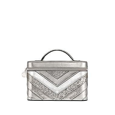 Victoria's Secret Silver V-Quilt Vanity Train Case 9 x 6 x 6