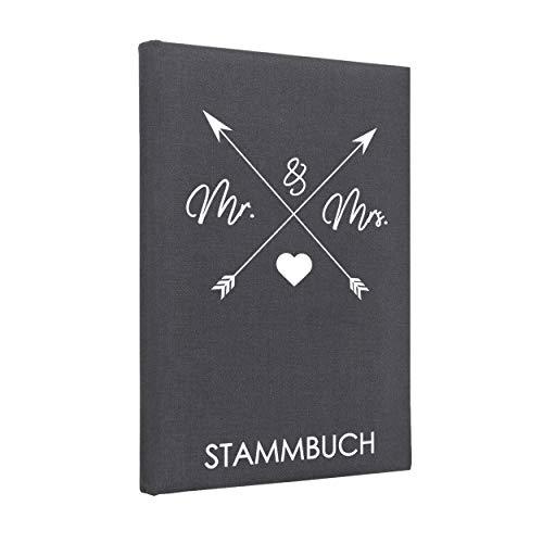 Hochzeitideal Stammbuch der Familie 'Arrow' Leinen dunkelgrau