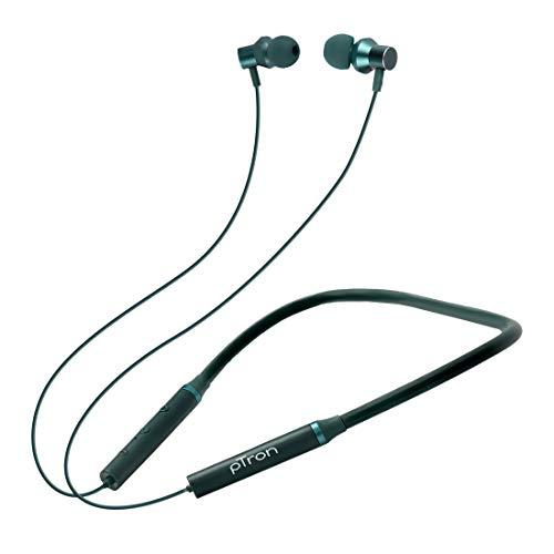 pTron Tangentbeat Bluetooth 5.0 Wireless Headphones with Deep Bass, Ergonomic Design, IPX4 Sweat/Waterproof Neckband, Magnetic Earbuds, Voice Assistant, Passive Noise Cancelation & Mic – (Dark Green)