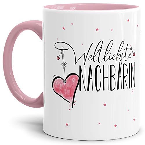 Tasse mit Spruch für die Weltbeste Nachbarin - Kaffeetasse/Familie/Geschenk-Idee/Mug/Cup/Innen & Henkel Rosa