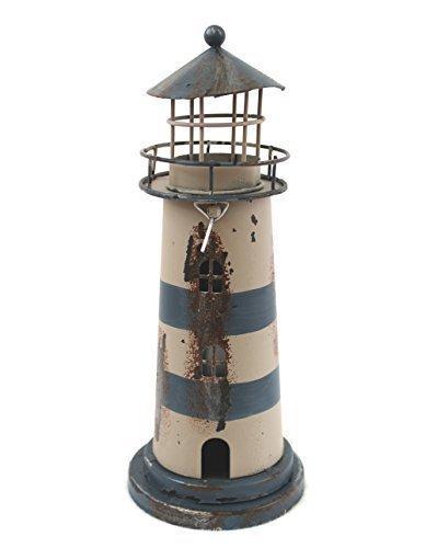 Unbekannt Deko Leuchtturm Teelichthalter Blech Metall 23cm (blau)