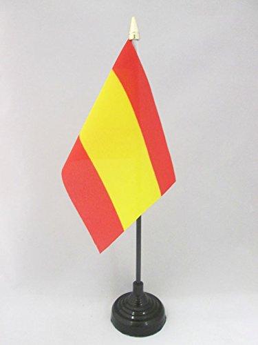 AZ FLAG Bandera de Mesa de ESPAÑA SIN Armas 15x10cm - BANDERINA de DESPACHO ESPAÑOLA SIN Escudo 10 x 15 cm Punta Dorada