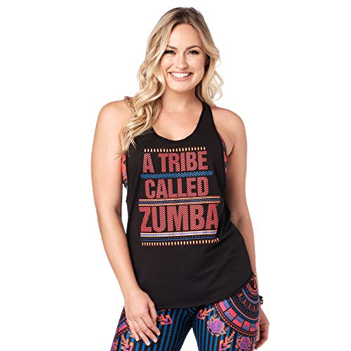 Zumba Fitness Damen Zumba Dance Fitness Workout Muscle Tank Tops for Women Breathable Active Gym Top Panzer, Basic Bold Black, X-Large
