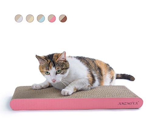 Amznova Kratzmatte für Katzen, Kratzunterlage, haltbar, recycelbare Pappe mit Katzenminze, 7 Farben und 2 Größen