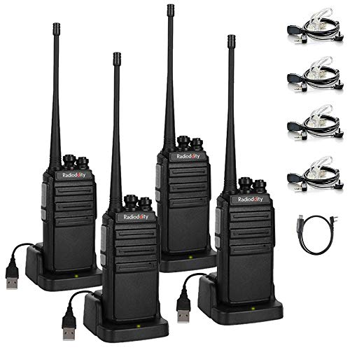 Radioddity GA-2S Long Range Walkie Talkies Two Way Radio for Adults Security Business Outdoor, USB Rechargeable + Air Acoustic Earpieces + 1 Free Programming Cable, 4 Pack