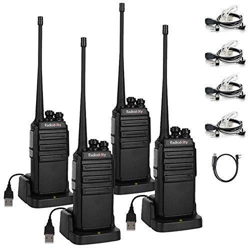 Walkie Talkies Radioddity GA-2S UHF Recargable Emisoras de Caza Largo Alcance Conexión de Carga Micro-USB con Auricular de Enlace acústico con Micro, Pack 4 y 1 Cable de programación