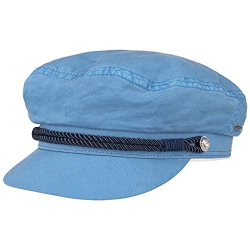 Stetson Dyed Cotton Riders Cap Elbsegler Baker-Boy-Mütze Kapitänsmütze Baumwollcap Schildmütze Damen - mit Schirm, Schirm Frühling-Sommer - L (58-59 cm) hellblau
