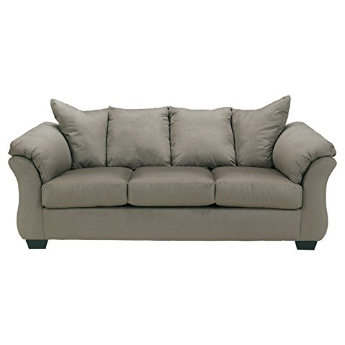 Signature Design by Ashley - Darcy Contemporary Microfiber Sofa, Cobblestone