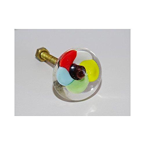int. d'ailleurs - Poignée de meuble transparente fleur multicolor - KNBDIV016
