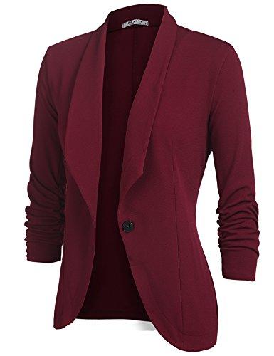 Beyove Women's 3/4 Sleeve Blazer Open Front Cardigan Jacket Work Office Blazer Wine Red L