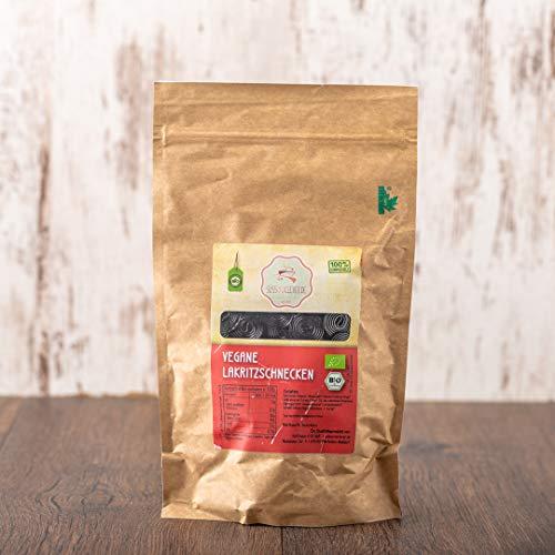 süssundclever.de® Bio Lakritzschnecken | vegan | 500 g | plastikfrei und ökologisch-nachhaltig abgepackt