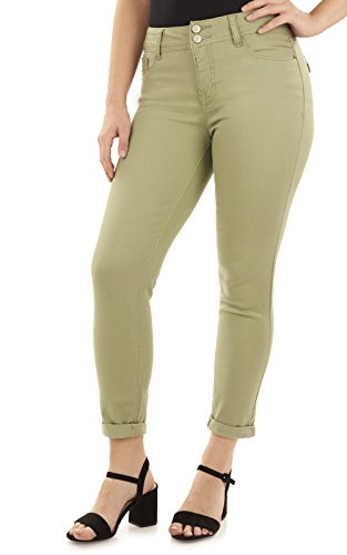 Angels Forever Young Women's Curvy Convertible Jean, Oil Green, 8