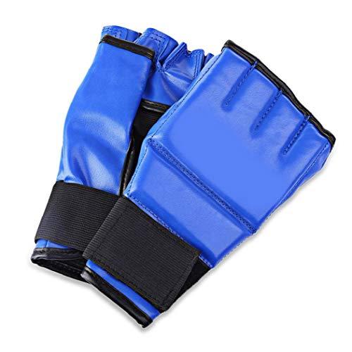 Half Finger Mitts Boxsack Sparring Boxhandschuhe für Cool MMA Muay Thai Training Gym Blau