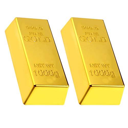 ABOOFAN - Lote de 2 toallitas falsas de oro, réplica realista de ladrillo de oro, ladrillo, lámina de prop Feng Shui riqueza, adorno de plástico, pisapapeles